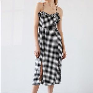 Urban Outfitters Gingham Ruffle Midi Dress (NWOT)